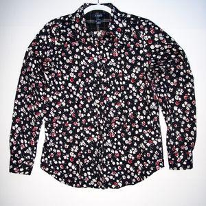 No Iron Button Down Blouse Chaps M Black Red White